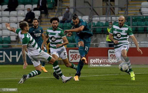 Zlatan Ibrahimovic of AC Milan scores his sides first goal during the UEFA Europa League second qualifying round match between Shamrock Rovers and AC...