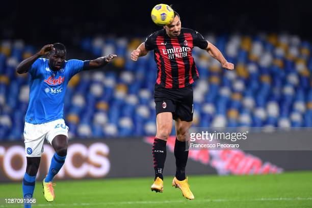 Zlatan Ibrahimovic of A.C. Milan scores their team's first goal during the Serie A match between SSC Napoli and AC Milan at Stadio San Paolo on...
