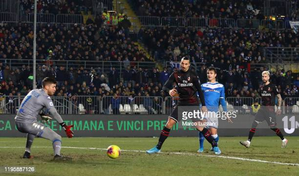 Zlatan Ibrahimovic of AC Milan shoots and misses a chance on goal during the Serie A match between Brescia Calcio and AC Milan at Stadio Mario...