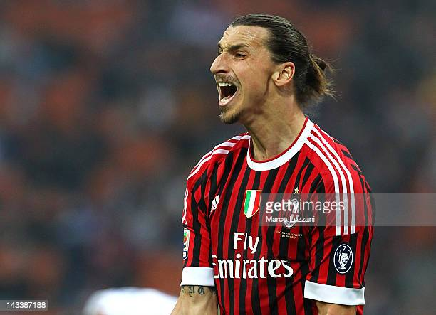 Zlatan Ibrahimovic of AC Milan shouts during the Serie A match between AC Milan and Genoa CFC at Stadio Giuseppe Meazza on April 25, 2012 in Milan,...