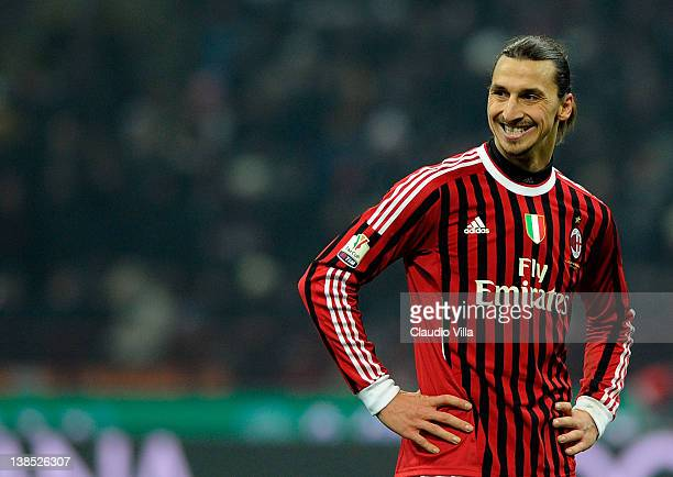 Zlatan Ibrahimovic of AC Milan smiles during the Tim Cup match between AC Milan and Juventus FC at Giuseppe Meazza Stadium on February 8 2012 in...