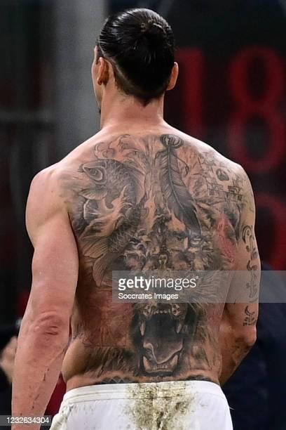 Zlatan Ibrahimovic of AC Milan tattoo during the Italian Serie A match between AC Milan v Benevento Calcio on May 1, 2021