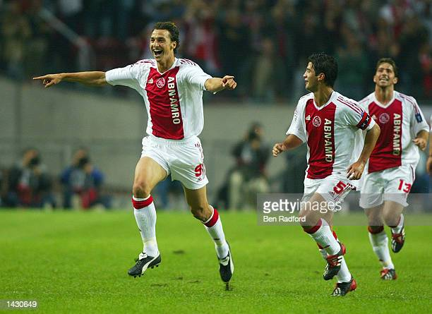 Zlatan Ibrahimovic of Ajax celebrates his goal during the UEFA Champions League First Phase Group D match between Ajax and Lyon at the Amsterdam...