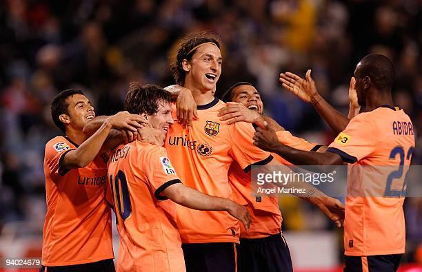 Zlatan Ibrahimovic of Barcelona celebrates after scoring with his teammates during the La Liga match between Deportivo La Coruna and Barcelona at the...