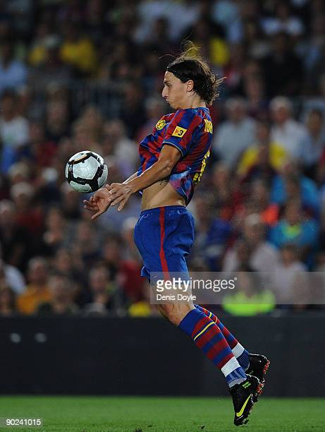 Zlatan Ibrahimovic of Barcelona controls the ball during the La Liga match between Barcelona and Sporting Gijon at the Nou Camp stadium on August 31...