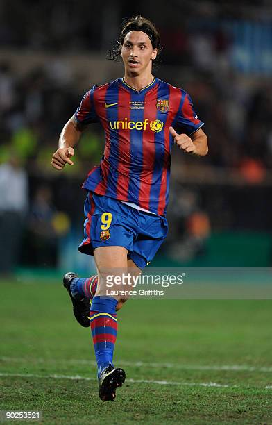 Zlatan Ibrahimovic of Barcelona in action during the UEFA Super Cup Final between FC Barcelona and Shakhtar Donetsk at The Stade Louis II Stadium on...