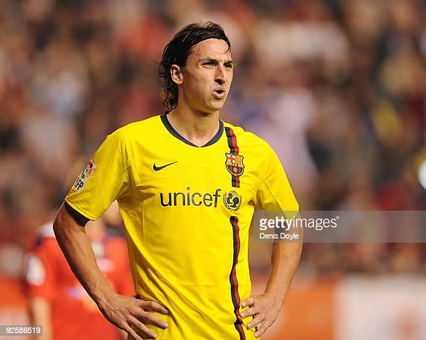 Zlatan Ibrahimovic of Barcelona looks on during the La Liga match between Barcelona and Osasuna at Estadio Reyno de Navarra on October 31 2009 in...