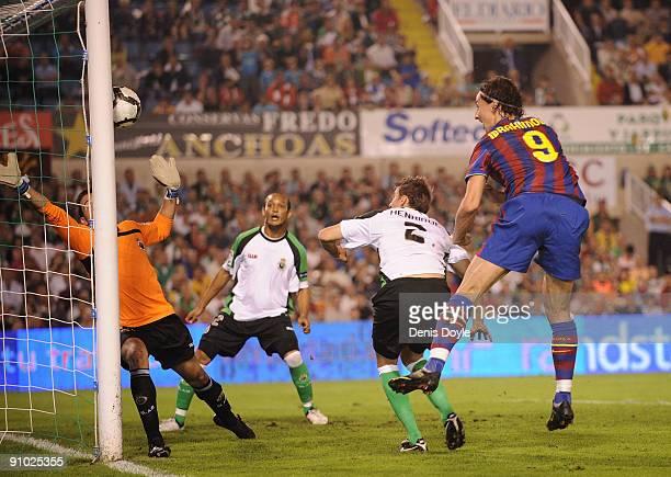 Zlatan Ibrahimovic of Barcelona scores Barcelona's first goal during the La Liga match between Racing Santander and Barcelona at El Sardinero stadium...