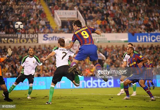 Zlatan Ibrahimovic of Barcelona scores his team's first goal during the La Liga match between Racing Santander and Barcelona at El Sardinero stadium...