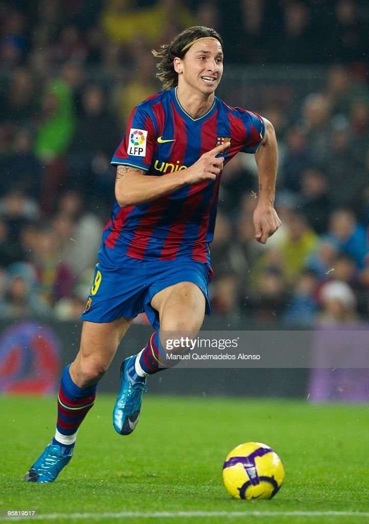Zlatan Ibrahimovic of FC Barcelona in action during the La Liga match between Barcelona and Sevilla at the Camp Nou stadium on January 16, 2010 in Barcelona, Spain. Barcelona won 4-0.