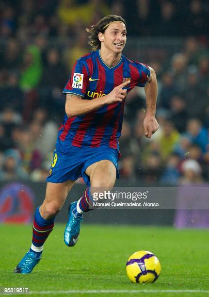 Zlatan Ibrahimovic of FC Barcelona in action during the La Liga match between Barcelona and Sevilla at the Camp Nou stadium on January 16, 2010 in...