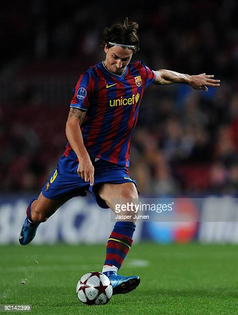 Zlatan Ibrahimovic of FC Barcelona strikes a free kick during the UEFA Champions League group F match between FC Barcelona and FC Rubin Kazan at the...