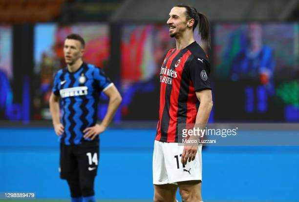 Zlatan Ibrahimovic of FC Internazionale reacts during the Coppa Italia match between FC Internazionale and AC Milan at Stadio Giuseppe Meazza on...