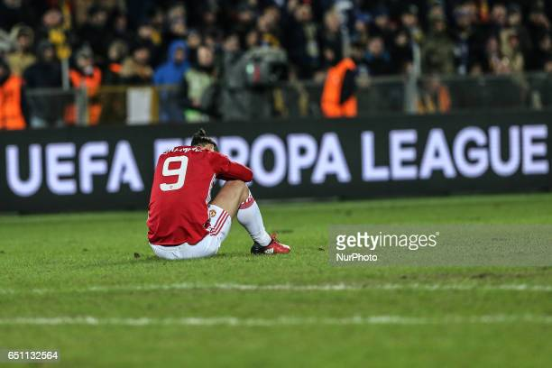 Zlatan Ibrahimovic of FC Manchester United vie for the ball during the UEFA Europa League Round of 16 first leg between FC Manchester United and FC...