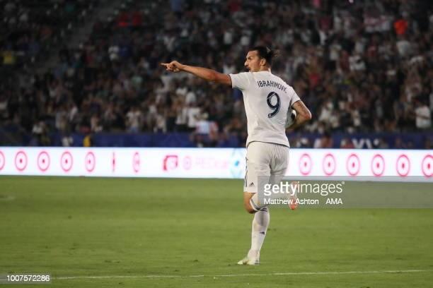Zlatan Ibrahimovic of LA Galaxy celebrates after scoring a goal to make it 33 during the MLS match between LA Galaxy and Orlando City at StubHub...