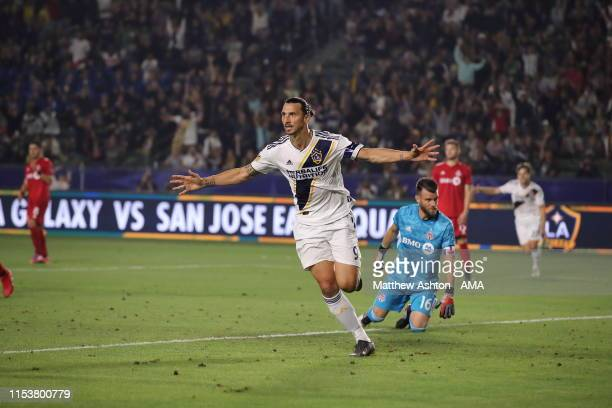 Zlatan Ibrahimovic of LA Galaxy celebrates after scoring a goal to make it 20 during the MLS match between Los Angeles Galaxy and Toronto FC at...