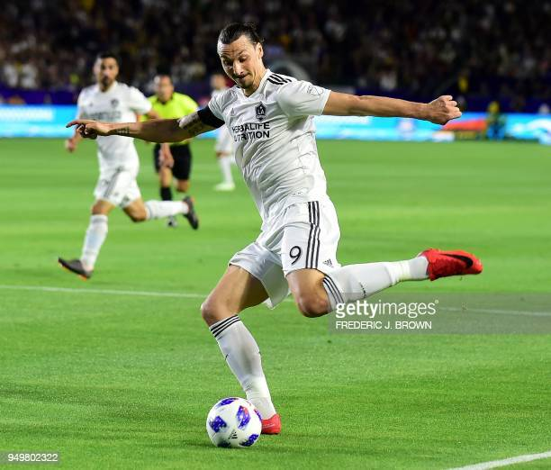 Zlatan Ibrahimovic of LA Galaxy crosses in the box against Atlanta United during their Major League Soccer match in Carson California on April 21...