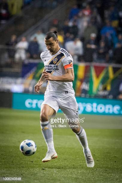 Zlatan Ibrahimovic of LA Galaxy drives toward the goal during the Major League Soccer match between LA Galaxy and Philadelphia Union at Talen Energy...