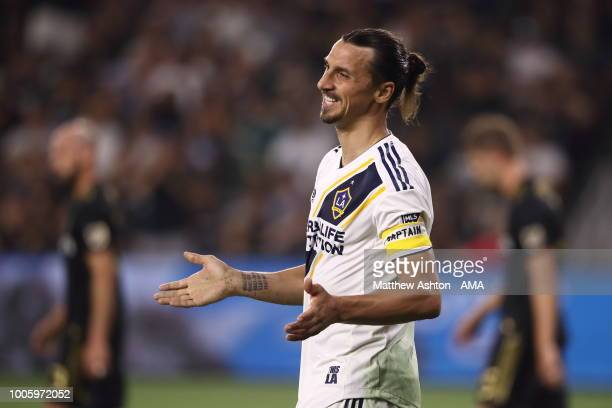 Zlatan Ibrahimovic of LA Galaxy during the MLS match between LAFC and LA Galaxy at Banc of California Stadium on July 26 2018 in Los Angeles...