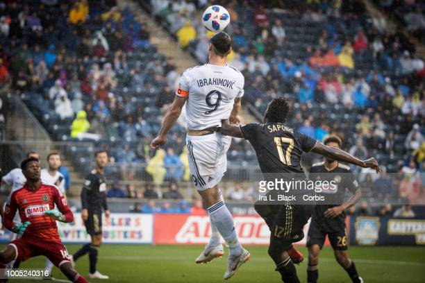 Zlatan Ibrahimovic of LA Galaxy goes up for the header against CJ Sapong of Philadelphia Union during the Major League Soccer match between LA Galaxy...