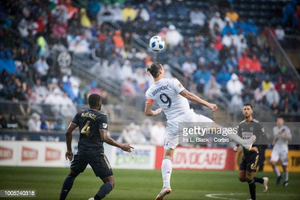Zlatan Ibrahimovic of LA Galaxy goes up for the header against Mark McKenzie of Philadelphia Union during the Major League Soccer match between LA...