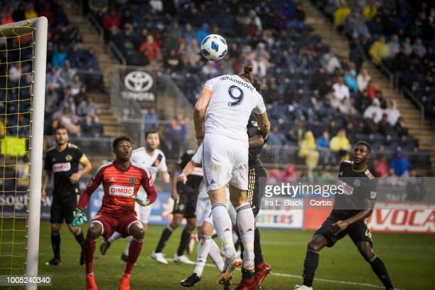 Zlatan Ibrahimovic of LA Galaxy goes up for the header to try to score a goal during the Major League Soccer match between LA Galaxy and Philadelphia...