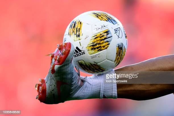 Zlatan Ibrahimovic of LA Galaxy juggles the Adidas Nativo official ball of MLS before the MLS regular season match between Toronto FC and LA Galaxy...