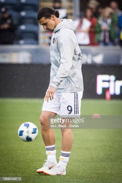 Zlatan Ibrahimovic of LA Galaxy kicks the ball during warms up before the Major League Soccer match between LA Galaxy and Philadelphia Union at Talen...