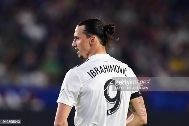 Zlatan Ibrahimovic of LA Galaxy looks on during the Major League Soccer match between Atlanta United and LA Galaxy in Carson California on April 21...