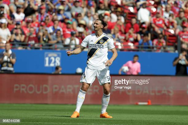 Zlatan Ibrahimovic of LA Galaxy looks on during the Major Soccer League match between Dallas FC and LA Galaxy at Toyota Stadium on May 12 2018 in...