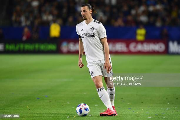 Zlatan Ibrahimovic of LA Galaxy looks to pass during the Major League Soccer match between Atlanta United and LA Galaxy in Carson California on April...