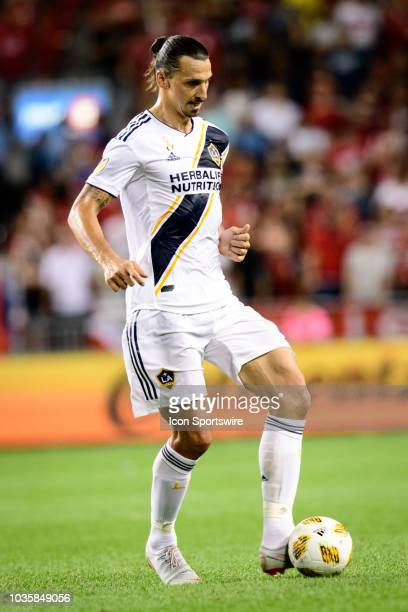Zlatan Ibrahimovic of LA Galaxy passes the ball during the MLS regular season match between Toronto FC and LA Galaxy on September 15 at BMO Field in...