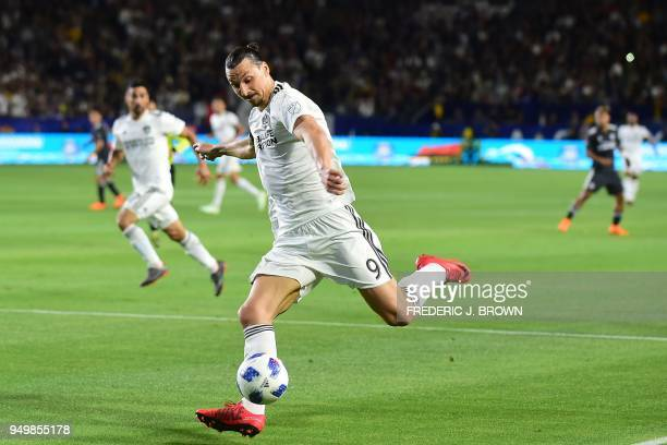 Zlatan Ibrahimovic of LA Galaxy prepares to make a cross during the Major League Soccer match between Atlanta United and LA Galaxy in Carson...