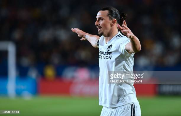 Zlatan Ibrahimovic of LA Galaxy reacts against Atlanta United during their Major League Soccer match in Carson California on April 21 2018 Atlanta...