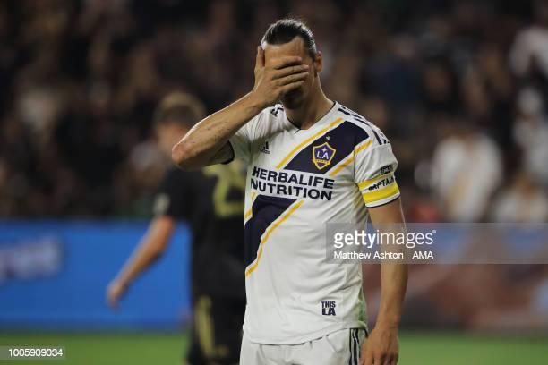 Zlatan Ibrahimovic of LA Galaxy reacts during the MLS match between LAFC and LA Galaxy at Banc of California Stadium on July 26, 2018 in Los Angeles,...