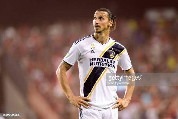 Zlatan Ibrahimovic of LA Galaxy reacts during the MLS regular season match between Toronto FC and LA Galaxy on September 15 at BMO Field in Toronto...