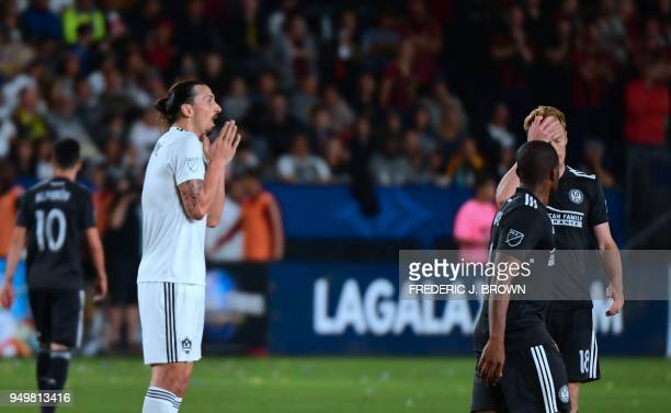 Zlatan Ibrahimovic of LA Galaxy reacts to a call from the referee against Atlanta United during their Major League Soccer match in Carson California...