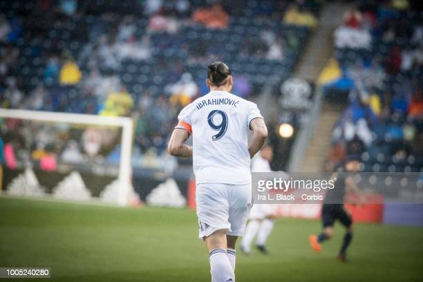 Zlatan Ibrahimovic of LA Galaxy runs down the pitch during the Major League Soccer match between LA Galaxy and Philadelphia Union at Talen Energy...