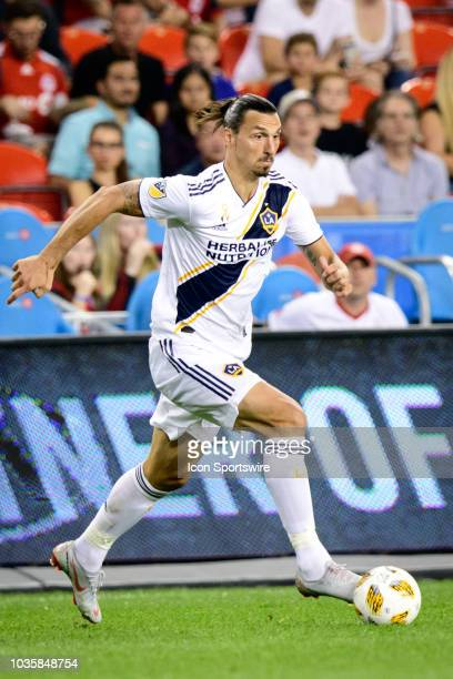 Zlatan Ibrahimovic of LA Galaxy runs with the ball during the MLS regular season match between Toronto FC and LA Galaxy on September 15 at BMO Field...