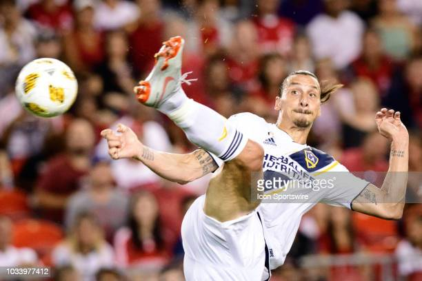 Zlatan Ibrahimovic of LA Galaxy scores a goal during the first half of the MLS regular season match between Toronto FC and LA Galaxy on September 15...