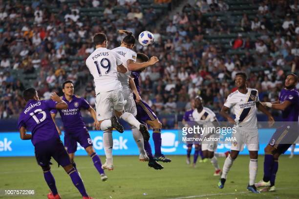 Zlatan Ibrahimovic of LA Galaxy scores a goal to make it 22 during the MLS match between LA Galaxy and Orlando City at StubHub Center on July 29 2018...