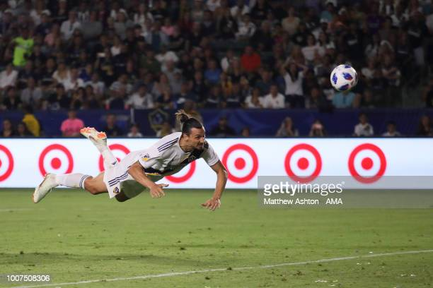 Zlatan Ibrahimovic of LA Galaxy scores a goal with a diving header to make it 33 during the MLS match between LA Galaxy and Orlando City at StubHub...