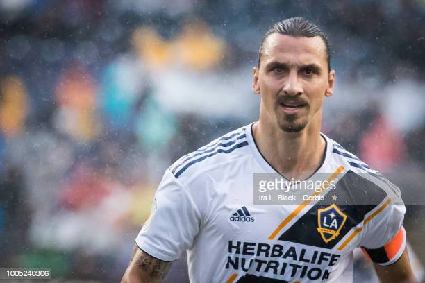 Zlatan Ibrahimovic of LA Galaxy shows his determination during the Major League Soccer match between LA Galaxy and Philadelphia Union at Talen Energy...