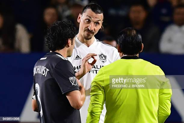 Zlatan Ibrahimovic of LA Galaxy speaks to the referee during the Major League Soccer match between Atlanta United and LA Galaxy in Carson California...