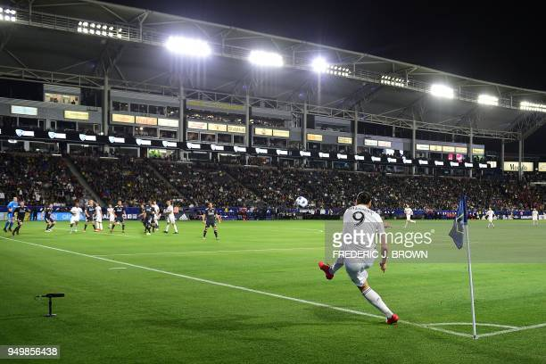 Zlatan Ibrahimovic of LA Galaxy takes a corner kick against Atlanta United during the Major League Soccer match between Atlanta United and LA Galaxy...