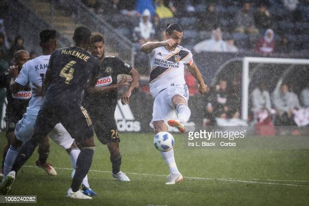 Zlatan Ibrahimovic of LA Galaxy takes a shot on goal during the Major League Soccer match between LA Galaxy and Philadelphia Union at Talen Energy...