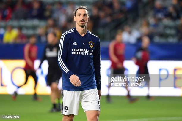 Zlatan Ibrahimovic of LA Galaxy takes part in the warmup before the Major League Soccer match between Atlanta United and LA Galaxy in Carson...