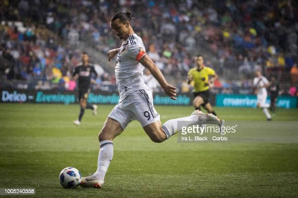 Zlatan Ibrahimovic of LA Galaxy takes the shot on goal during the Major League Soccer match between LA Galaxy and Philadelphia Union at Talen Energy...