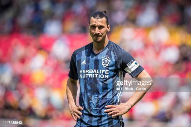 Zlatan Ibrahimovic of LA Galaxy waits for play to resume during the MLS match between LA Galaxy and New York Red Bulls at Red Bull Arena on May 04...