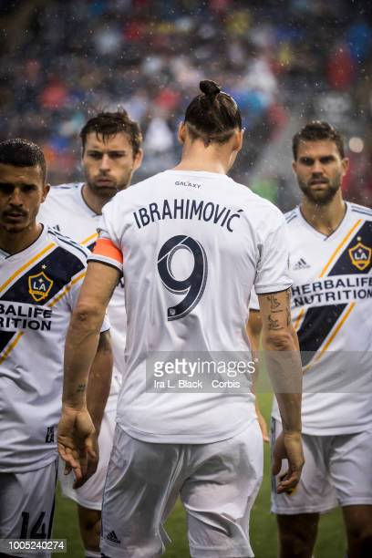 Zlatan Ibrahimovic of LA Galaxy walks back to his teammates during the Major League Soccer match between LA Galaxy and Philadelphia Union at Talen...